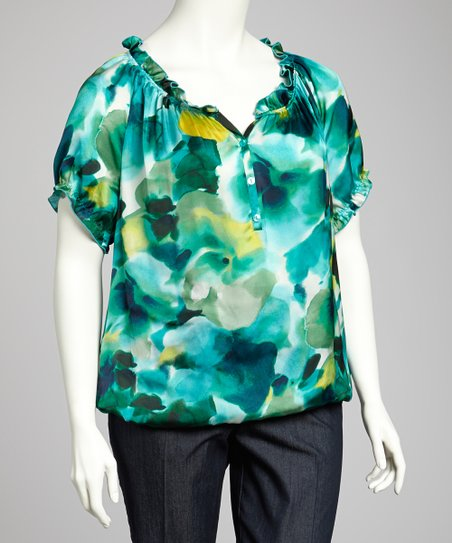 Teal & Green Ruffle Plus-Size Top