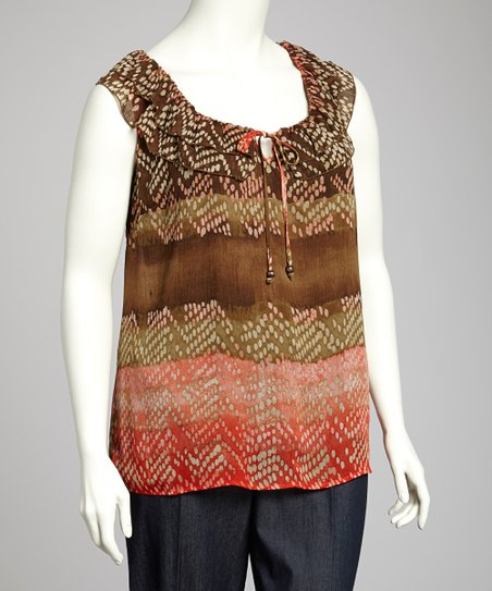 Orange & Brown Sleeveless Top - Plus