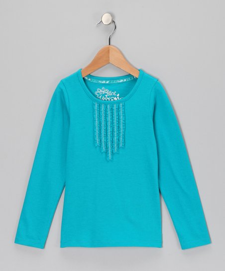 Turquoise Pleated Long-Sleeve Top - Girls