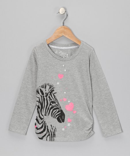 Gray Zebra Heart Top - Girls