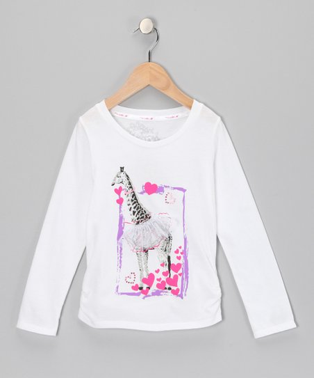 White Giraffe Heart Top - Girls