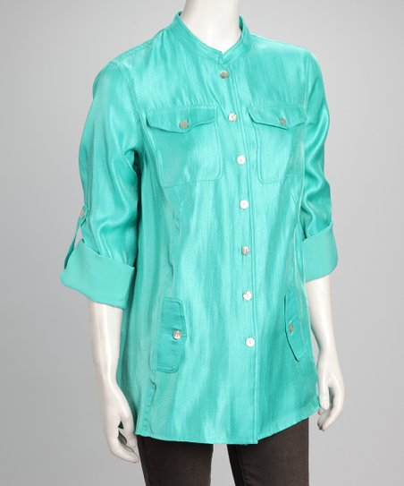 Mint Button-Up Top