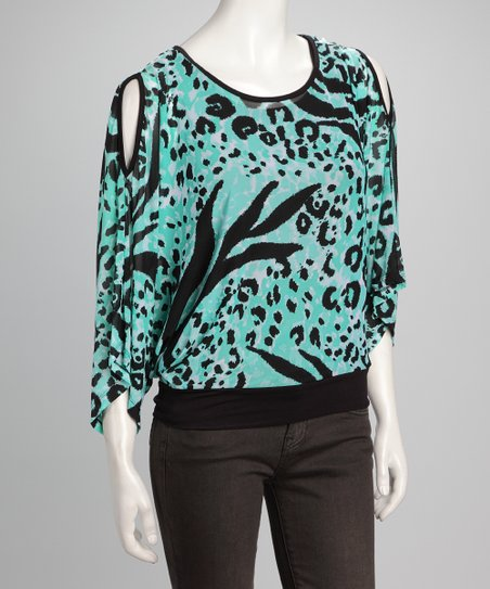 Black & Mint Leopard Cutout Dolman Top