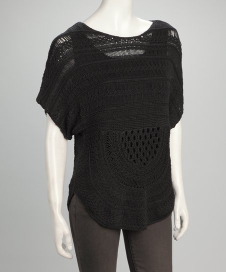 Black Crocheted Top