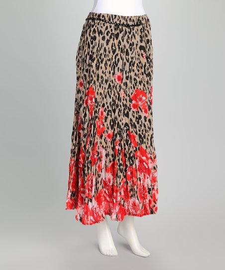 Red Leopard Maxi Skirt