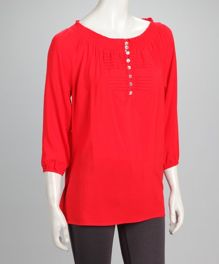 Red Pin Tuck Henley