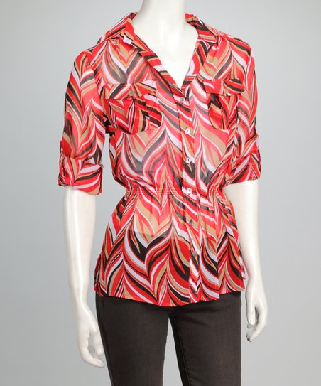 Red Sheer Retro Button-Up Top