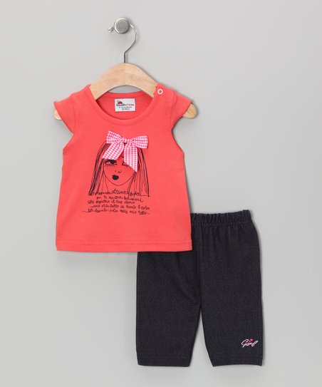 Orange & Dark Blue Bow Tee & Shorts - Infant & Toddler
