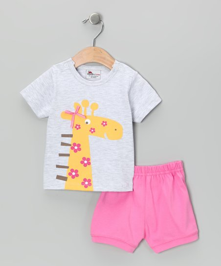 Gray & Pink Giraffe Tee & Shorts - Infant