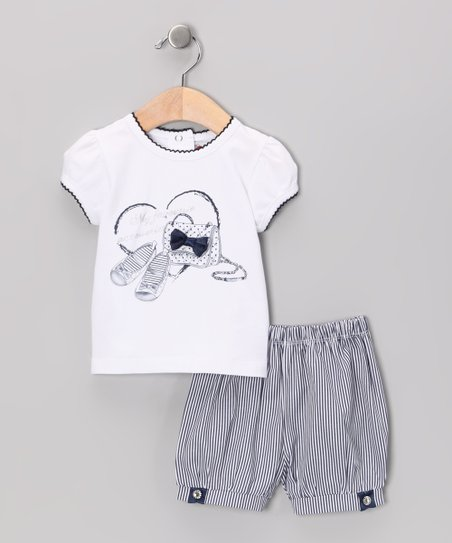 White & Blue Bow Tee & Shorts - Infant