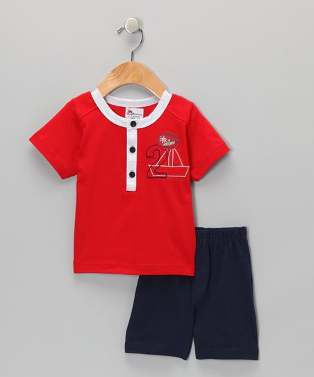 Red Sailboat Henley & Navy Shorts - Infant & Toddler