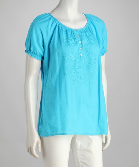 Aqua Button Peasant Top