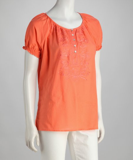 Coral Button Peasant Top