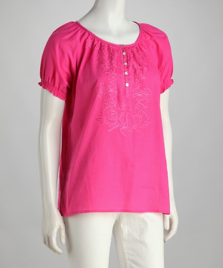 Pink Button Peasant Top