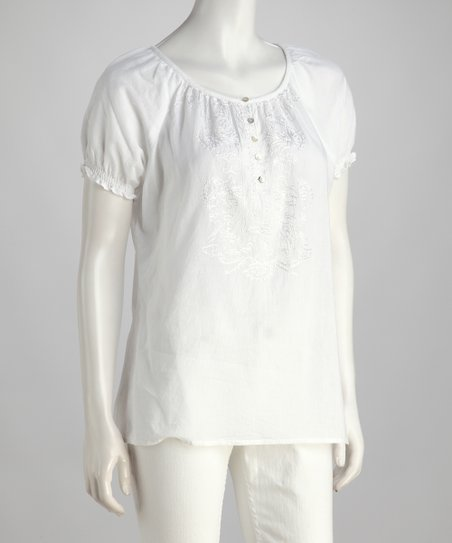White Button Peasant Top