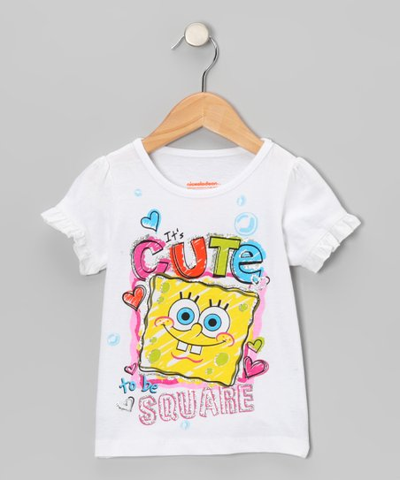 White 'Cute to Be Square' Tee - Toddler