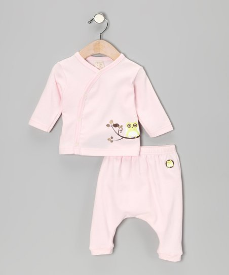 Pink Owl Wrap Top & Pants - Infant