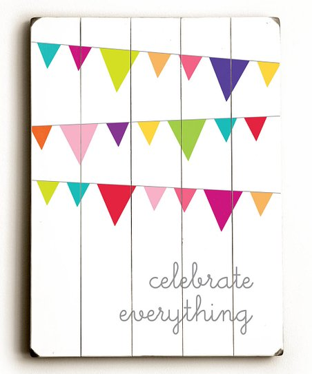 &#039;Celebrate Everything&#039; Wood Wall Art