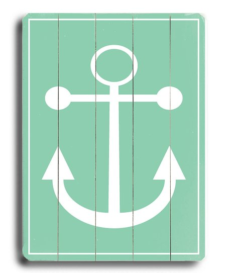 Green Anchor Wood Wall Art