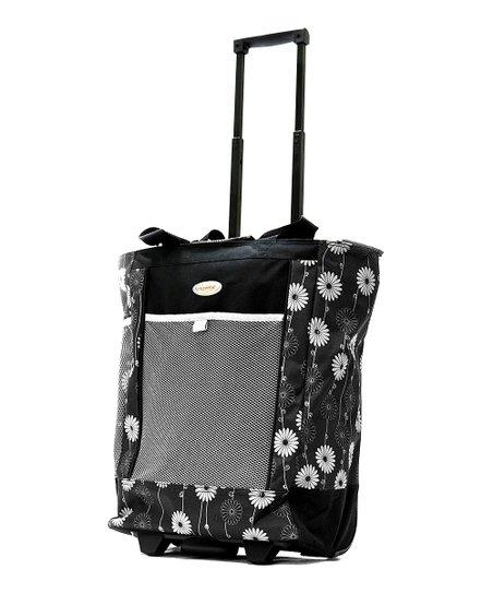 Black & White 20'' Wheeled Shopper Tote