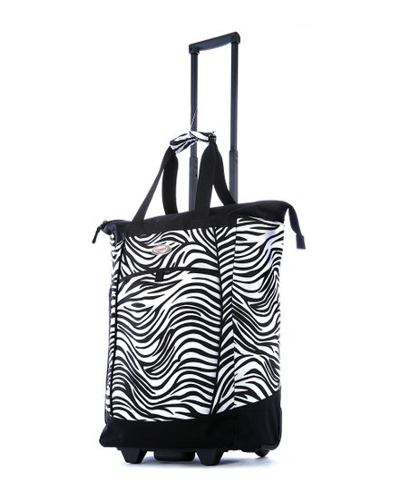 Zebra Fashion Wheeled 30'' Shopper Tote