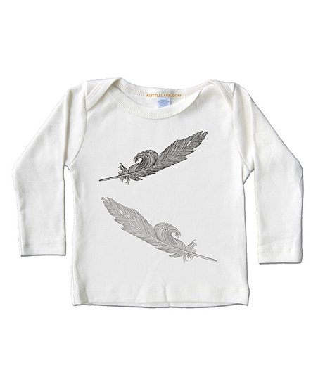 Cream Feather Organic Long-Sleeve Tee - Infant, Toddler & Kids