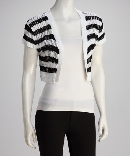 White & Black Crocheted Open Cardigan