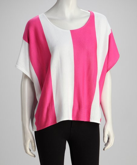 Pink &amp; White Sheer Dolman Top