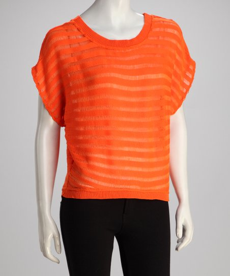 Orange Sheer Dolman Top