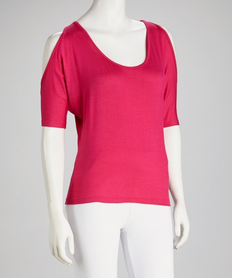 Fuchsia Cutout Top - Women