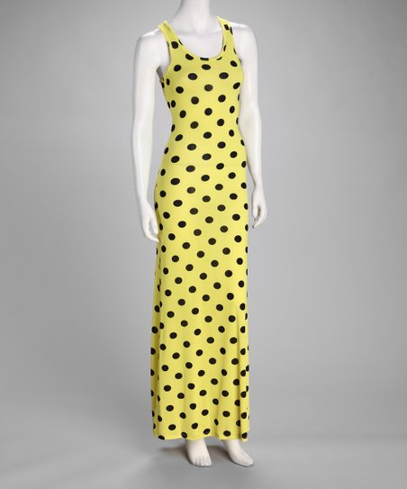 Yellow Polka Dot Maxi Dress