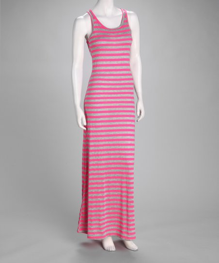 Pink & Gray Stripe Maxi Dress