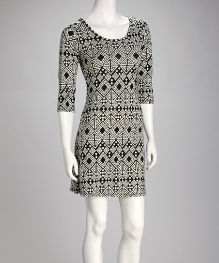 Black Diamond Three-Quarter Sleeve Dress