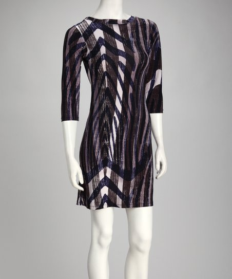 Purple Abstract Three-Quarter Sleeve Dress