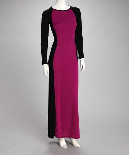 Purple &amp; Black Color Block Maxi Dress
