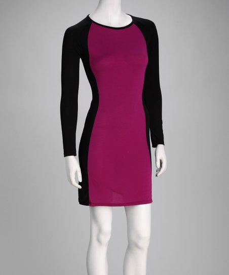 Purple & Black Color Block Dress