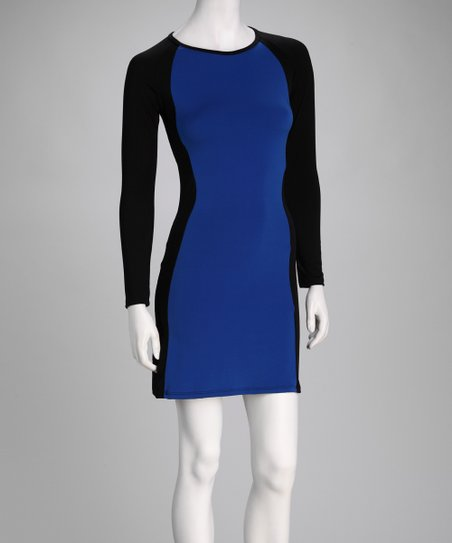 Navy & Black Color Block Dress