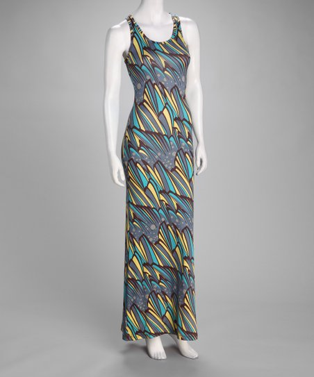 Yellow & Turquoise Abstract Maxi Dress