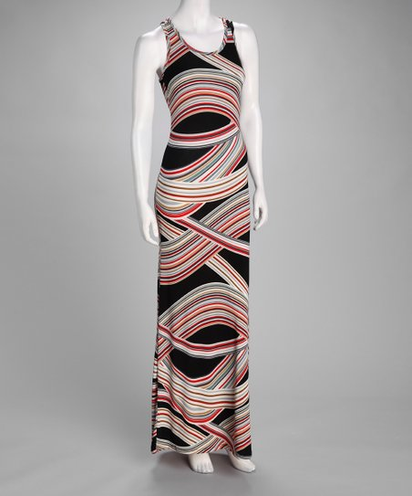 Black & Red Berry's Rainbow Maxi Dress