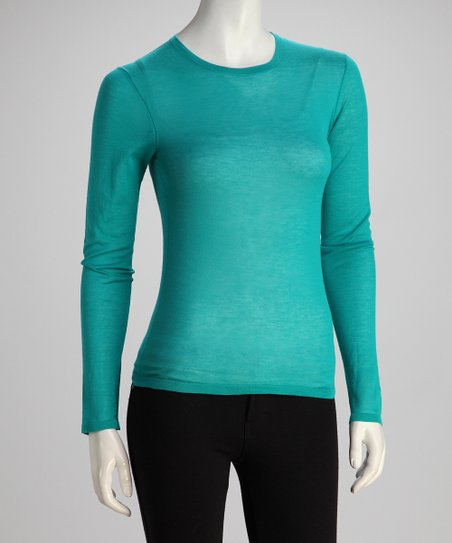 Teal Long-Sleeve Crewneck Knit Top