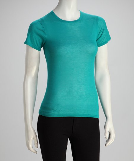 Teal Short-Sleeve Crewneck Knit Top