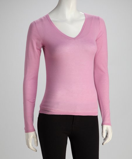 Lilac Long-Sleeve V-Neck Knit Top