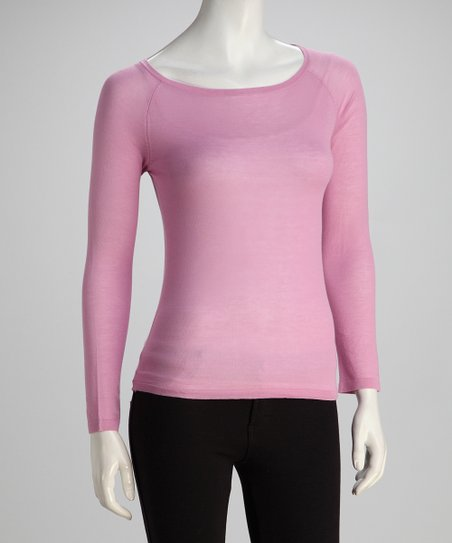Lilac Long-Sleeve Boatneck Knit Top