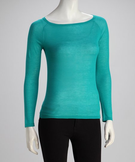 Teal Long-Sleeve Boatneck Knit Top