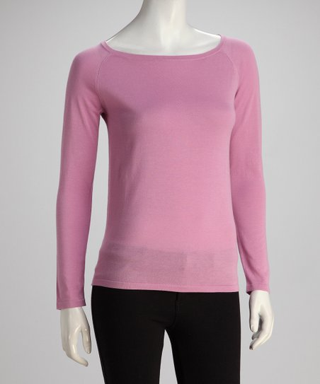 Lilac Two-Ply Long-Sleeve Boatneck Knit Top