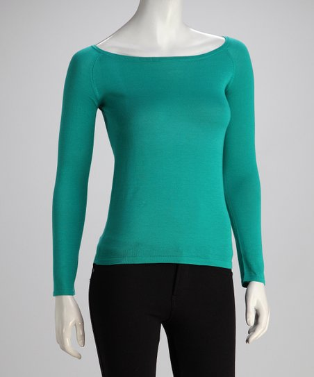 Teal Two-Ply Long-Sleeve Boatneck Knit Top