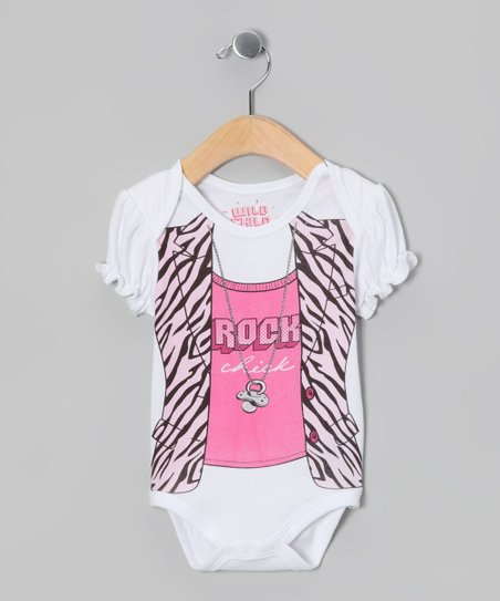 White 'Rock Chick' Bodysuit - Infant