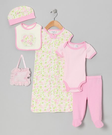 Pink Flower 7-Piece Layette Set