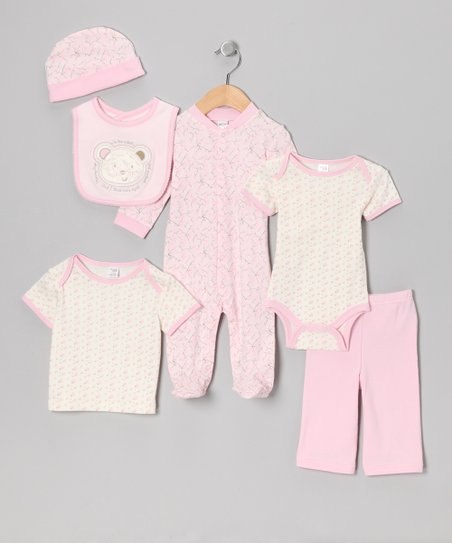 Pink I'm the Sweetest Bear Six-Piece Layette Set