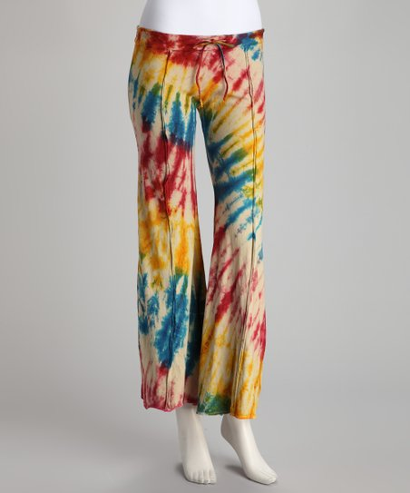 Yellow Tie-Dye Drawstring Flare Pants
